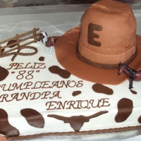 Western Cake Buttercream with fondant accent. 3D Cowboy Hat.