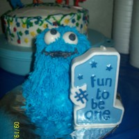 Cookie Monster Cake This was supposed to be a mini blue teddybear for my sons 1st bday but came out horribly so turned it into cookie monster with white...