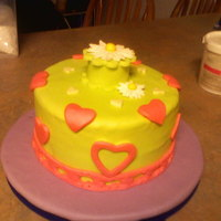 Just A Green Cake With Hearts And A Daisy