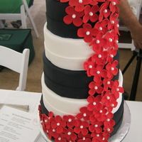 Black & White fondant covered; fondant flowers for bridal fair