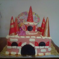 Princess Scarlett's Castle   Fondant covered with 'towers' made out of ice cream cones covered in fondant.