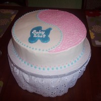 Baby Revealing Party Cake This is a white cake with vanilla buttercream frosting that I did for a party where the parents revealed if the baby would be a boy or a...