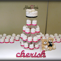 Alana  This wedding cake consists of 75 mini cakes (approx 2.5 inches each) and a 6 inch cutting cake. They are all chocolate mud cake (6 gluten...