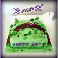 Off-Road Buggy Racing Off-road buggy racing theme cake. 9 inch dark chocolate mud cake with milk chocolate ganache filling, iced and decorated in fondant with...