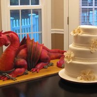 "Dragon Cake This cake weighed in at 45 pnds, 36"" long. It was red velvet. The head is rice krispy treat covered in fondant as well as the legs and..."