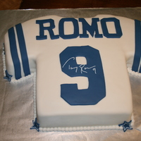 Football Jersey - Dallas Cowboys Birthday cake commissoned for a huge Tony Romo fan. Was such a big hit that the Birthday boy actually went and changed into his jersey!! :D...