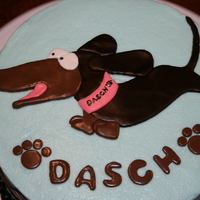 *dasch*ing Dachshund Just a quick cake I whipped up to celebrate my Dachshund's 2nd Birthday. His name is Dasch, and yes, he did have a small party with...
