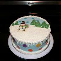 Frosty's Winter Wonderland Christmas cake commissioned for a Government Department holiday potluck - 9 inch white butter cake filled with fresh raspberry mousse and...
