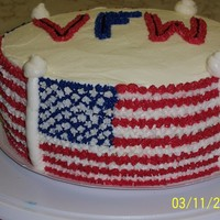 Vfw   A traditional Flag cake. The worst part was I only have 1 size 13 star and I had to wash the tip between each color.