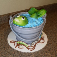 "Fish Bucket Cake mmf covered 8"", 9"", 10"" white cakes with buttercream frosting, fondant fish, lures, and worms. airbrushed for dimension and..."