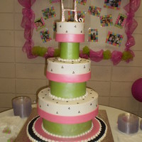 Wedding Cake With Styro Spacers The bride brought a pic of a cake very similar to this one. It is buttercream with fondant covered spacers. This pic was taken before the...