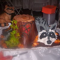Groom's Cake For A Coon Hunter And His Bride The couple loves to hunt and they enjoy coon hunting with their dogs. the bride said do whatever and this is what i came up with. The...