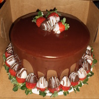 Triple Chocolate Cake With Chocolate Covered Strawberries Chacolate cake with chocolate buttercream with chocolate ganache ( i cheat and use canned fudge frosting heated in the microwave) drizzle,...