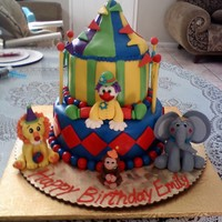 Circus Themed Cake I had a lot of fun making the characters on this cake.