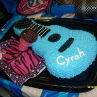 "Guitar Cake With Microphone This is the first cake I've ever decorated. The cake was for my daughter's 5th birthday party- Rockstar Theme. The ""..."