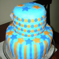 My First Ever Fondant Covered Cake  This is the first cake that I ever did covered in fondant. It was for sweet friends of mine baby shower. The dad is a huge Denver Broncos...