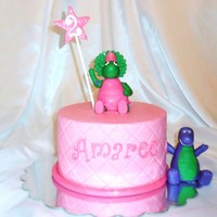 Baby Bop And Barney Characters are made from fondant and tylose.
