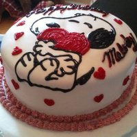 "Snoopy Birthday Cake Red Velvet Cake w/ Cream Cheese Frosting-- MMF Covering, Black Icing ""snoopy"" & Red Icing ""hearts"" Deco *100%..."