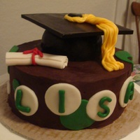 Small Graduation Cake This is a dark chocolate fudge cake with cookies and cream filling, iced in dark chocolate ganache. The mortarboard is RKT covered in MMF....