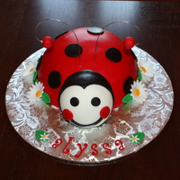 Lady Bug   I used the soccer ball pan for the body and a small half ball for the head.