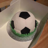 Football Cake Football cake for 6 year old boys birthday. Vanilla cake, vanilla butter cream with strawberry jam, all fondant decoration.