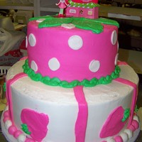 Strawberryt Shortcake stacked orrigianal cake was fondant but customer didnt want fondant.