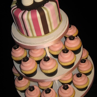 "Baby Shower Topper Cake & Cupcakes 6"" Topper Cake decorated with stripes and gumpaste shoes. I used my new Cricut Cake (LOVE it!!!) to make the scalloped base under the..."