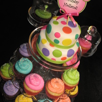 "Polka Dot Mini Cake & Cupcakes This Mini Cake was created for a little girl's 2nd birthday. The cake is aprox 6"" tall and 4-5"" diameter at the base of the..."
