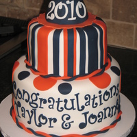 Graduation Cake This cake was created for 2 young ladies graduating from high school. Letters & #'s were cut using Tappits (whew that took a...
