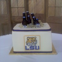 Lsu Ice Chest Cake   Groom's cake - chocolate icing with Guitaird Chocolate Ganache filling and icing.