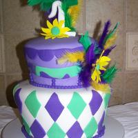 Mardi Gras Birthday Cake   This is my first attempt at tapering a cake. Fun to do