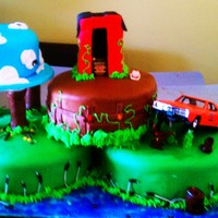 Hazzard County This was for my 4yr old nephew. He's a big fan of the movie. Vanilla cake with strawberry and pudding filling. Inside the barn is...