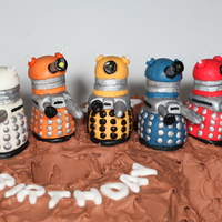 Dr Who Dalek Cake Dr Who Dalek cake is a chocolate sponge figure of 8 covered in chocolate butter cream.... Each dalek is 3 inch tall and totally edible!