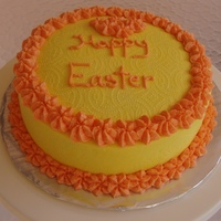 Orange And Yellow Easter Cake Buttercream decorated