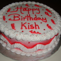 Red And White Birthday Buttercream decorated cake