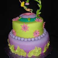 "2 Tier Tinkerbell Birthday Cake This is a Tinkerbell birthday cake I made for my niece. It's all fondant, 8"" and 6"" round cakes. Inspired by a cake on cc."