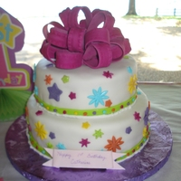 "One-Derful Girl's 1St Birthday 2 Tier Cake I made this cake to go with my daughter's ""One-Derful 1st Birthday"" party theme. I just started taking the Wilton classes 2..."