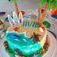 1St Birthday Beach Cake Beach cake w/coordinating sand castle smash cake I made for a 1st birthday party at a splash park. All buttercream w/sifted brown sugar for...