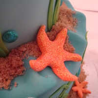 Starfish And Waves For a little girl's 9th birthday. Two tiered cake with sculpted waves. Dolphin was sculpted out of fondant, the starfish were made of...