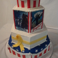 Celebrate Our Troops This was a four-tier fondant hexagon cake I did for the Fourth of July. The third tier had WWII recruitment posters printed in edible ink,...