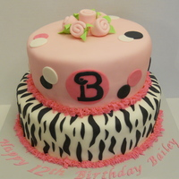 "Zebra Birthday Cake Fondant covered tiered cake (10"" & 8"" tiers)."