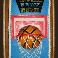 Basketball Hoop Cake  I made this for a little boy who was having a sports themed party and was getting a basketball goal for his birthday. The cake is WASC with...