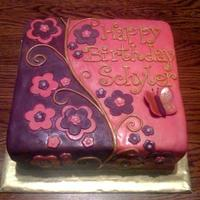 Pink & Purple Girly Cake   Based on beautiful designs found on CC, thanks!