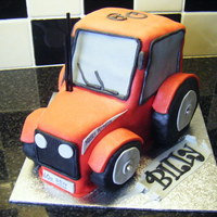 Farmer Billy! 3d massey tractor for a 60th b/day..sponge cake with buttercream filling and covered in fondant.