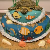 Coral Reef Cake - 1St Attempt This was my final cake for my Wilton Fondant & Gumpaste class. It was 100% inspired by CCers. Sea turtle is all fondant, waves are...