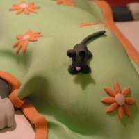 Cat Under Blanket My first non-square, non-round cake. This was for my Wilton fondant and gumpaste class. We learned how to drape fondant (so I did the...