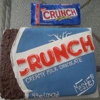 Crunch Bar Cake   This was for my dads bday,he loves candy :-) Made with MMF and real cruch bar candy the i melted to make the bar part.