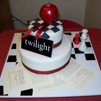 #1 Fan Cake Fondant covered cake for my Best Friends 30th Birthday Surprise Party. I photo copied pages from the book and taped them to the cake board...
