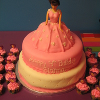 Princess Doll Strawberry cake with fresh strawberries n cream filling. Covered in MMF. First time trying the doll cake. TFL!