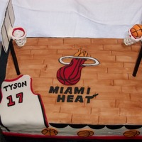 Miami Heat Basketball For a 17 year old fan of the Heat! Red velvet cake, cream cheese frosting, decorations made from MMF & Satin Ice. Floor is painted on...
